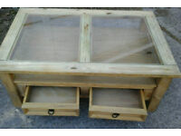 Rustic pine wood and glass coffee table with drawers