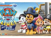4X TICKETS PAW PATROL LIVE THE GREAT PIRATE ADVENTURE SHOW WEMBLEY 26 AUGUST2018