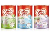 COW AND GATE STAGES 1-4 WHOLESALE AVAILABLE £52.50 PER CASE OF 6 TUBS.
