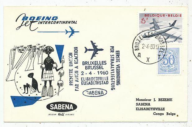 CPA PK AK TIMBRE STAMP FDC SABENA 1er VOL 707 BRUXELLES-ELISABETHVILLE 1960