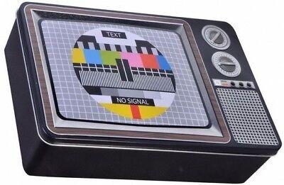 VINTAGE TV TELEVISION BLACK SMALL HINGED TOBACCO STORAGE STASH TIN BOX CASE
