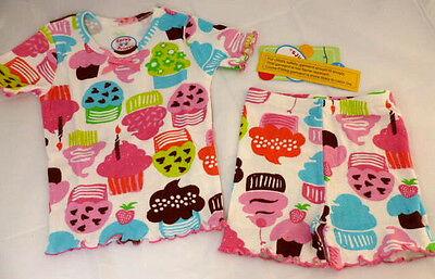 Sara's Prints Pajamas Girls Size 4 Boutique Cupcakes 2 Piece Short Sleeve NEW - Boutique Pajamas