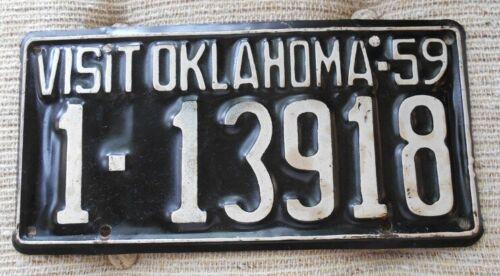 NICE 1959 OKLAHOMA LICENSE PLATE TAG