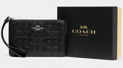 NWT Coach F80214 CornerZip Wristlet Black Leather w/ Glitter Gift Box $98 Retail