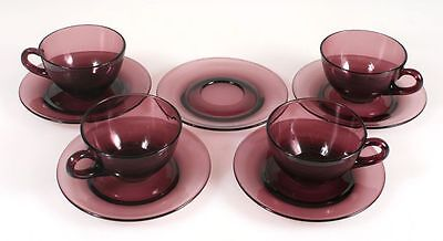 COFFE/TEA CUPS W/ SAUCERS GLASS TINTED PURPLE, SET OF 4 CUPS   5 SAUCERS