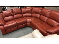 Tan leather recliner corner sofa