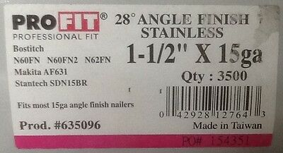 1-12 Stainless Steel 15 Guage Ga. 28 Degree Angled Finish Nails 3500 Ct.