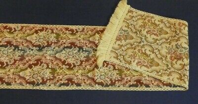 VINTAGE TAPESTRY SETTEE OR SIDE BOARD COVER WITH CREAM TASSLE 50X10 ENGLAND