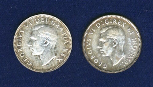 CANADA GEORGE VI  25 CENTS / QUARTERS SILVER COINS, 1941 & 1950, LOT OF (2)