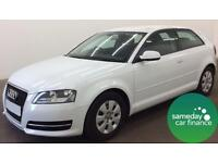 £182.37 PER MONTH - WHITE 2012 AUDI A3 1.6 TDI 3 DOOR DIESEL MANUAL
