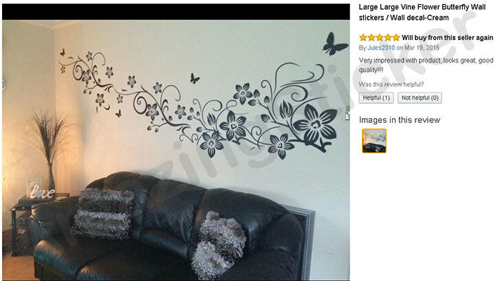 Large Vine Flower Butterfly Wall stickers / Wall decal