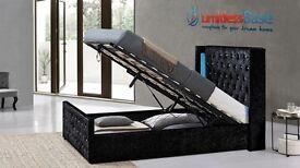New Luxury Elizabeth LED Wing back Crushed Velvet Ottoman Designer Storage Bed Frame