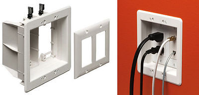 Arlington 2-Gang Recessed TV Box Wall Plate Kit Low Voltage & Power LCD TV Mount