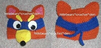 CUSTOM boutique CROCHET DORA SWIPER THE FOX Hat Beanie Costume