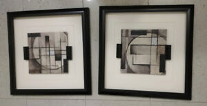 "Two Abstract Framed Wall Art 16x16"" (originally from Home-Sense)"