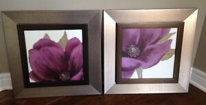 Two Purple Matching Flower Artwork with Bronze Frames