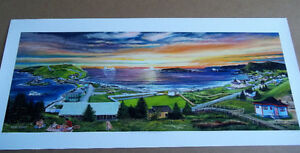 "Framed 12"" x 32"" Print by Glenn Clarke Early Outing in Ferryland"