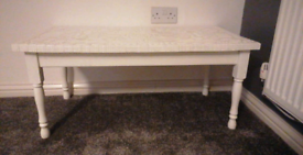 Solid wood/white gloss carved coffee table (Buyer collects)