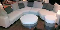Modern 4 piece sectional sofa, coffee table and end table