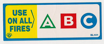 """(LOT OF 5) SELF-ADHESIVE VINYL """"ABC FIRE EXTINGUISHER CLASSIFICATION LABELS"""" for sale  Shipping to Canada"""