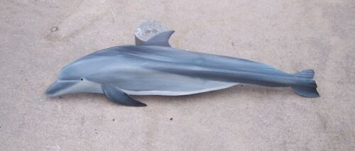 Dolphin carved from palm tree frond porpoise nautical sculptured beach art