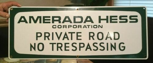AMERADA HESS RARE PORCELAIN TRUCK SIGN.FROM ACTUAL HESS TRUCK YARD.2020 GIFT NEW