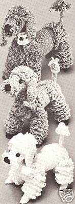 Vintage Crochet PATTERN to make Toy Dogs Puppy French Poodle Family 8-10-12