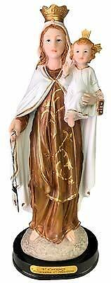 Our Lady of Mount Carmel Blessed Virgin Mother Mary 12 Inch Wooden Base -