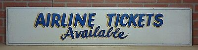 Old Airline Tickets Available Sign Thin Wooden Board Painted Airport Advertising