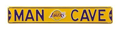 Los Angeles Lakers Steel Street Man Cave Sign with Logo 36x6
