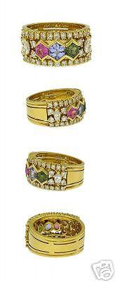 18kt Yellow Gold Multi Colored Sapphire Diamond Ring