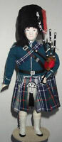 Rare Costumed Porcelain Doll Scottish Guardsman with Bagpipes