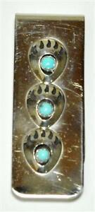 Navajo-Turquoise-Triple-Sterling-Silver-Bear-Paw-Money-Clip-Joey-McCray