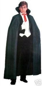Mens LONG BLACK CAPE Cloak Vampire Dracula Fancy Dress NEW 55