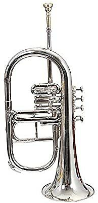Y8BRAND NEW NICKEL PLATED Bb FLAT 4 VALVE FLUGEL HORN +FREE HARD CASE+MOUTHIPICE