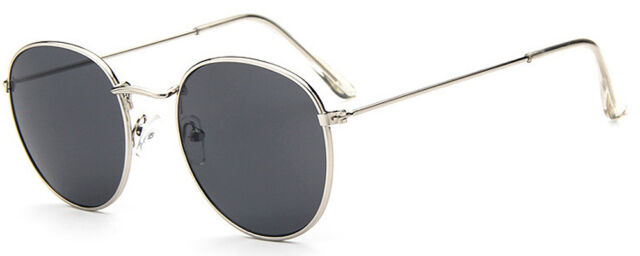 Mohawk Round Retro Sunglasses Chrome with Dark Grey Lens + Pouch Full UV400 Y17