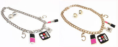 Women Crystal Paris Perfume lipstick nail polish makeup No5 Charm necklace Set - Nail Necklace