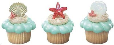 12  Shell  Starfish Sand Dollar Cupcake Party Rings LUAU Elegant - Party Dollar