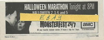 2002 HALLOWEEN MARATHON TV GUIDE AD CLIPPING MONSTERFEST 24/7  2,3,4 & 5](Halloween Tv Clips)