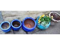 5 nice glazed pots for garden plants decorative planting