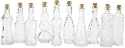 "Vintage Glass Bottles w/ Corks Set 10 Designs 5"" Tall CLEAR wedding favor party"
