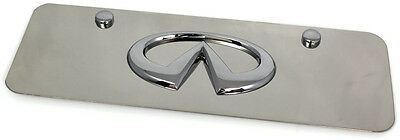 Chrome Infiniti Emblem Logo Front License Plate Frame Small Mini Stainless Steel