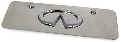 Chrome Infiniti Emblem Logo Front License Plate Frame Small Mini Stainless Steel