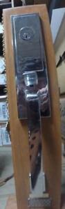 Emtek Zeus chrome Handleset with satin Nickle stuttgart Interior pack