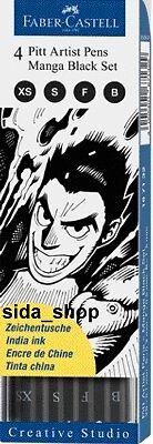 Faber-Castell Tuschestift schwarz PITT artist pen Manga Black Set 4er Etui