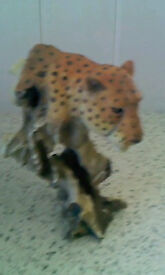 Leopard head on branch ornament. Attractive ,free Standing. Ideal Xmas gift