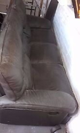 Brown faux leather sofa for sale