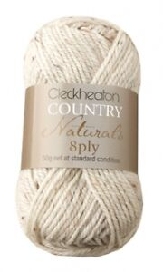 50g Balls - Cleckheaton 8ply Country Naturals - Natural #1805 - Discounted