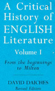 A CRITICAL HISTORY OF ENGLISH LITERATURE: FROM THE BEGINNINGS TO-ExLibrary