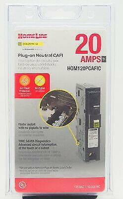 New - Square D Homeline Hom120pcafic 20-amp Plug-on Neutral Cafi Circuit Breaker